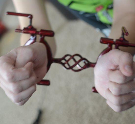 Metal bondage restrants, father daughternude