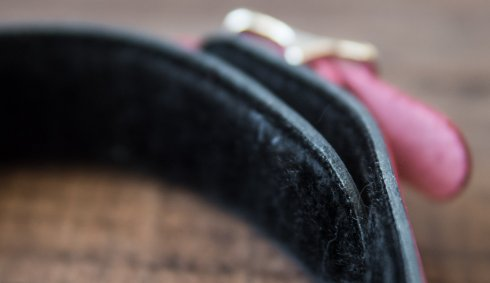 1 Ring Leather Pink Slave Collar